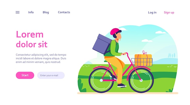 Courier riding bike with parcels. man on bicycle carrying boxes in cart and backpack web template.