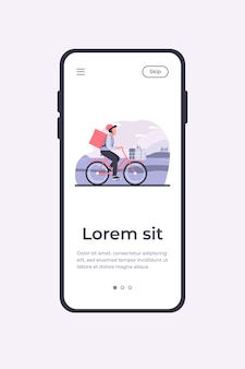 소포와 택배를 타고 자전거. 카트 및 배낭 평면 벡터 일러스트 레이 션에 상자를 들고 자전거에 남자. 배달 서비스, 배너, 웹 사이트 디자인 또는 방문 웹 페이지에 대한 작업 개념