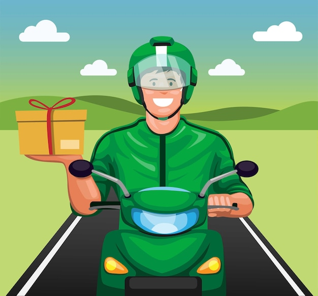 Courier riding motorbike delivering package