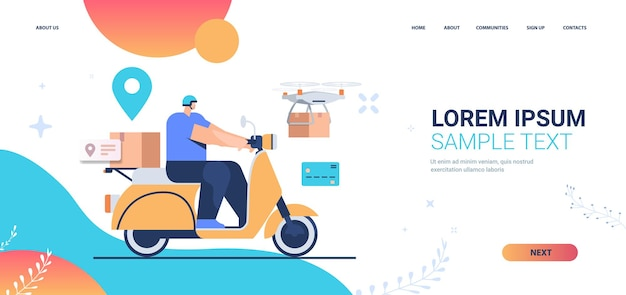 Courier on scooter delivering food or parcels express delivery service landing page