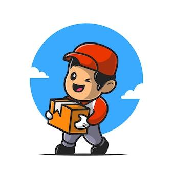 택배 배송 패키지 만화 아이콘 그림입니다.