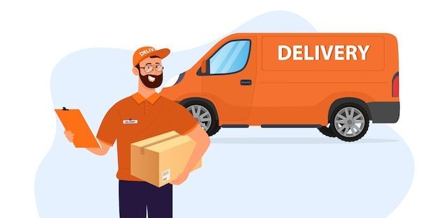 Курьер улыбается на фоне машины доставки