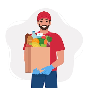 Courier in uniform with food in a paper bag. food delivery services. flat vector illustration
