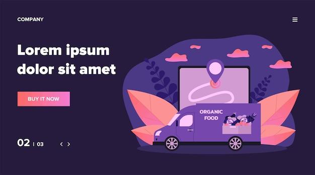 Курьерский фургон, доставляющий свежие овощи и фрукты. еда, gps, еда иллюстрации. концепция службы доставки и логистики для баннера, веб-сайта или целевой веб-страницы