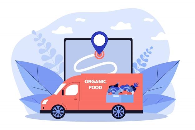 Courier van delivering fresh vegetables and fruits
