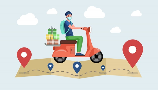 Courier or volunteer in face mask drive motorbike and deliver products from supermarket.