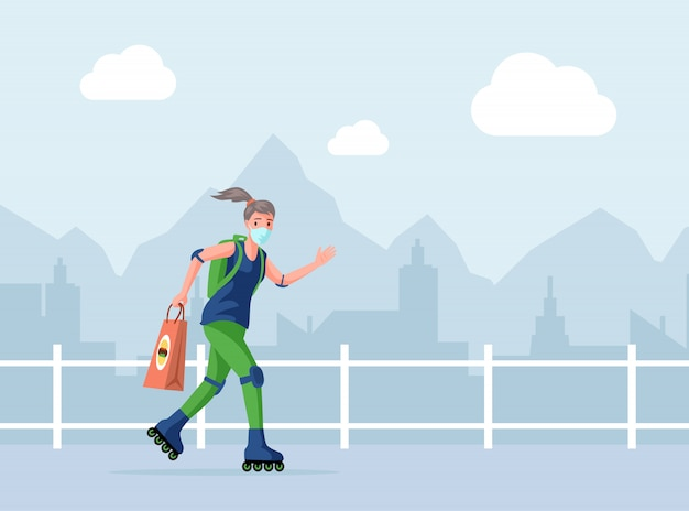 Courier or volunteer in face mask holding bag with fast food, woman ride on rollers   cartoon illustration.