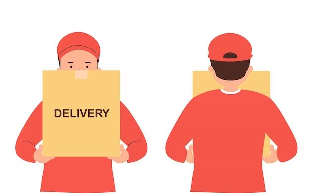 箱を手にした宅配便、商品、食品の無料配達。安全な配達の家の概念。