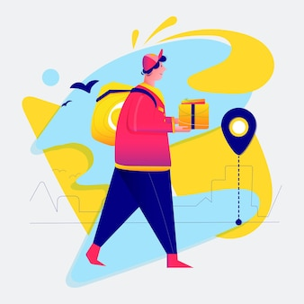 Courier with a backpack goes to deliver the package. flat cartoon vector color illustration for web.