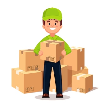 Courier with a box in his hands