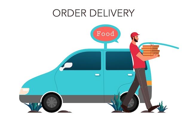 ボックス付き宅配便。バンを運転している制服を着た人。フードサービスからの食品配達。注文を配達する宅配便業者。