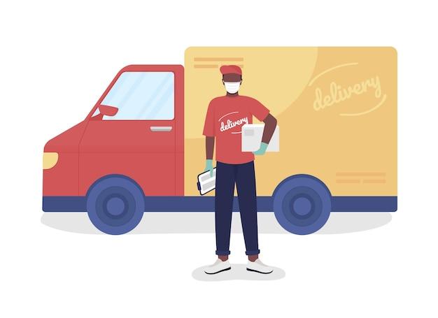 소포와 반 세미 플랫 컬러 벡터 문자가 있는 택배. 우편 배달부 그림입니다. 흰색에 전신 사람입니다. 그래픽 디자인 및 애니메이션을 위한 배달 서비스 격리된 현대 만화 스타일 그림