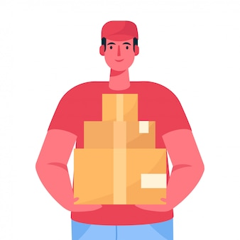 Courier with the parcel. a delivery man in red uniform holds a cardboard box in his hands. fast courier. restaurant food service, mail delivery service.  illustration in cartoon flat style