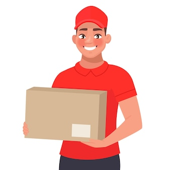 Courier with the parcel. a delivery man in red uniform holds a cardboard box in his hands.