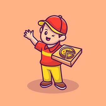 Курьер с пиццей box мультфильм вектор значок иллюстрации. люди еда значок концепция изолированные premium векторы. плоский мультяшном стиле.