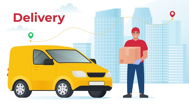 Курьер с фургоном держит посылку на фоне города доставщик с коробкой векторные иллюстрации