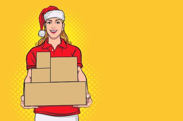Курьерская женщина в красном сантаклаусе служба доставки держит коробки в ретро винтажном стиле поп-арт в стиле комиксов