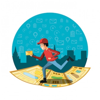 Courier worker running of logistic service