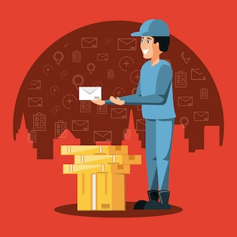 Courier worker with boxes logistic service
