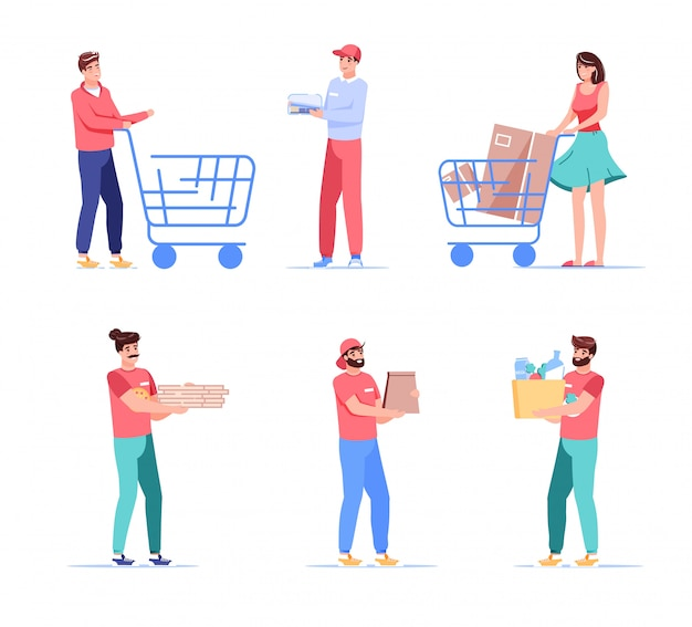 Couriers and clients cartoon people characters set. man woman customer pushing shopping trolley cart, deliveryman carrying parcel, food, grocery package. fastfood delivery, takeaway service