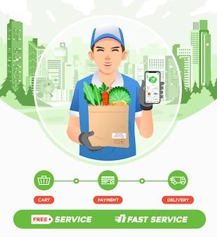 宅配便業者はスーパーマーケットから野菜の注文を配達します。スマートフォンのイラストでオンライン食料品の買い物アプリ。ウェブ画像、ポスター、その他に使用