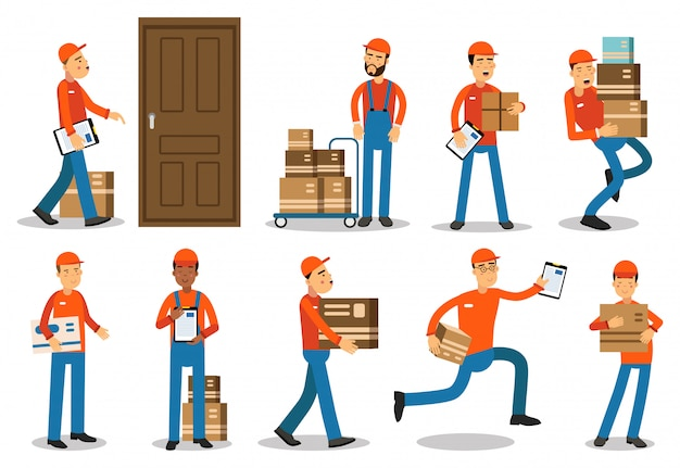 Couriers delivering packages. delivery service   illustrations