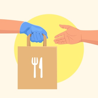 Couriers hand in blue protective rubber glove delivering food bags to customer