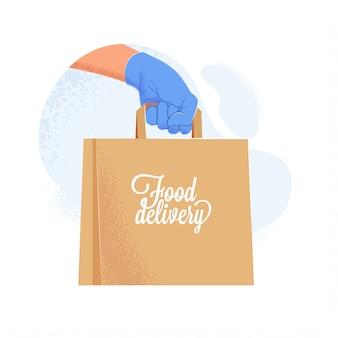 음식 배달 종이 가방을 들고 파란색 보호 장갑에 특사 손. covid-19 검역 중 안전한 음식 배달 서비스. 삽화