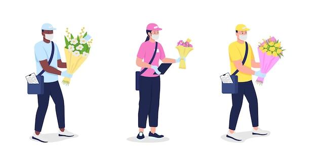 마스크와 장갑에 택배 꽃 평면 자세한 문자 집합. 유행성 격리 만화 컬렉션 중 안전한 배달