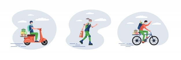 Couriers in medical masks deliver fast food and grocery from supermarket   cartoon illustration.