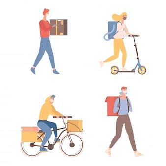 상자와 소포 평면 그림 택배. 보호용 안면 마스크를 쓴 젊은 남녀가 자전거와 스쿠터를 타고 물건이나 음식을 고객에게 배송합니다. 빠른 온라인 배달 개념.