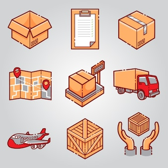 Courrier shipping delivery icon set