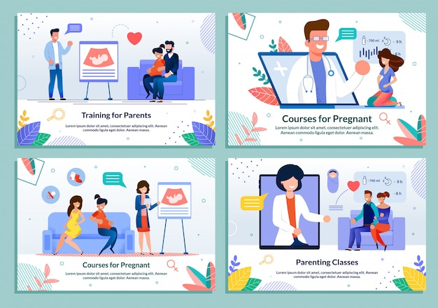 Course for parents expecting childbirth template set