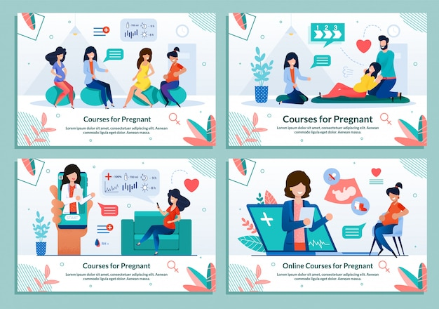 Набор шаблонов курсов для беременных по беременности и родам
