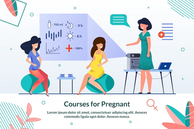 Courses of pregnant woman illustration