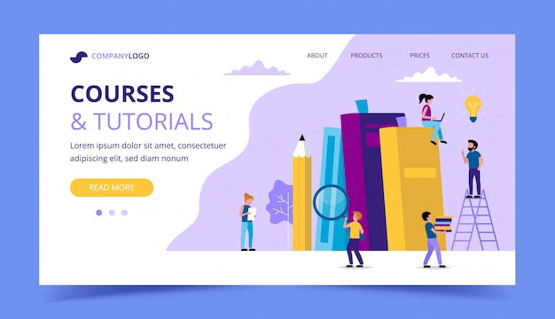 Courses and tutorials, learning landing page with books, pencil, small people characters doing various tasks.