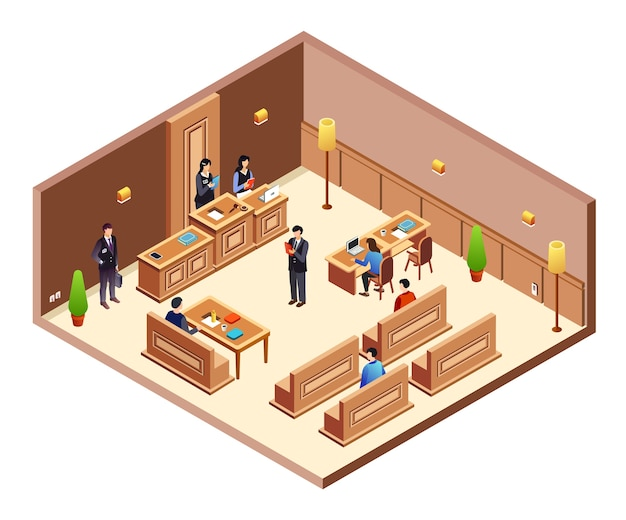 Court hearing cross section illustration. isometric courthouse hall room