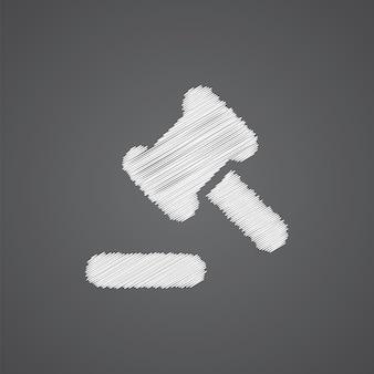 법원 법률 스케치 로고 낙서 아이콘 어두운 배경에 고립