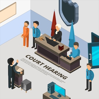 Court session banners. law process in judicial defendant police and crime interrogation isometric symbols  illustrations