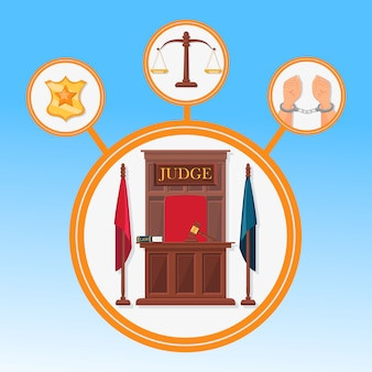 Court system symbols flat vector banner template