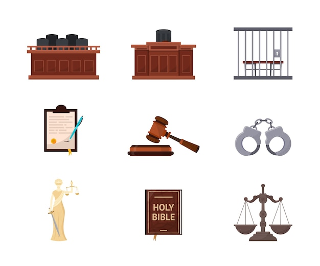 Court trial, courtroom illustrations set