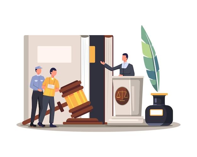 裁判所の裁判のベクトル図。弁護士は、裁判所の概念で正義、犯罪、正義のために犯罪者を判断します。フラットスタイルのベクトル