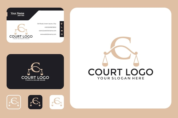 Court with letter c logo design and business card