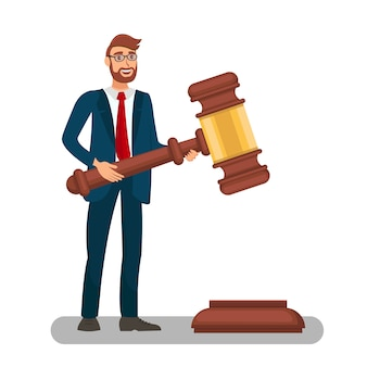 Court worker holding big gavel