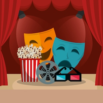Courtain cinema with films icons