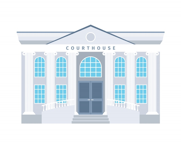 Courthouse flat building in blue colors isolated. vector illustration