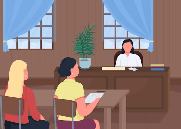 Courthouse flat color illustration
