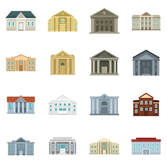 Courthouse icons set