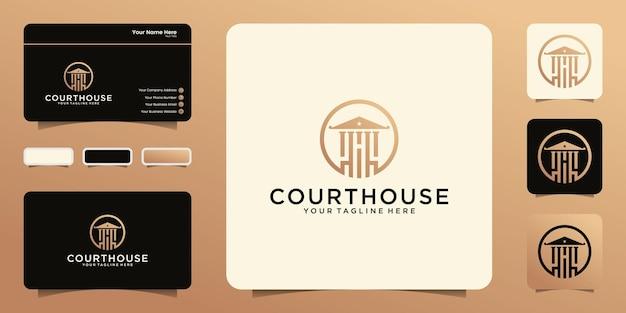 Логотип здания суда с кругом и вдохновением для визитных карточек