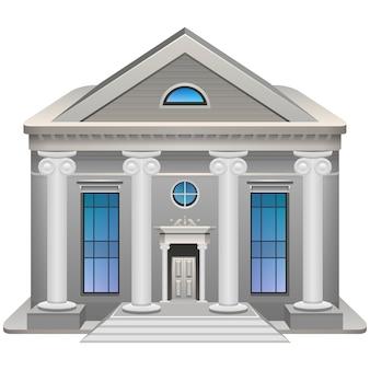 Подробный значок здания суда или банка.